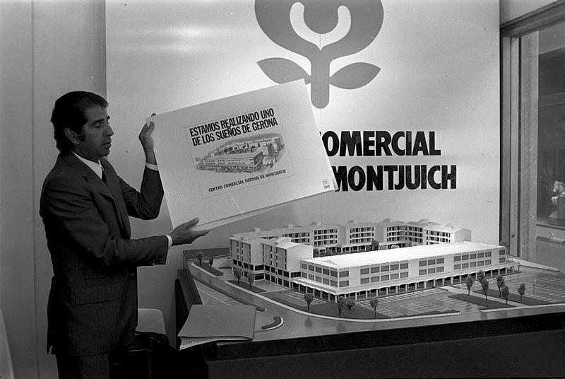 Narcís Sans i Prat. Presentació del centre comercial Parc de Montjuic. 26/09/1973.